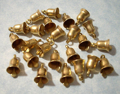 Vintage Tiny Bell Charms 10mm Solid Brass 1970's Lot of 12 pcs Made In USA