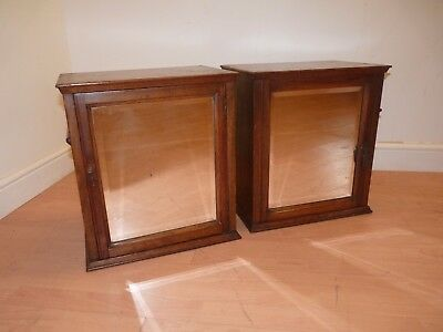 Pair Of Oak Antique Medicine Cabinets, Bathroom Cabinet, Mirrored Front Chemist