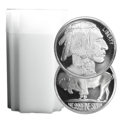 Lot of 20 - 1 Troy oz Buffalo .999 Fine Silver Round Full Roll
