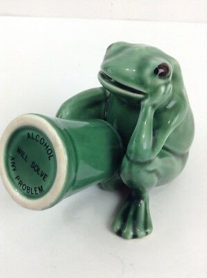 """Naughty Frog Shot Glass W Penis """"alcohol Will Solve Any Problem"""" Excellent"""