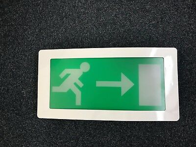 Emergency Exit Sign Recessed Bulk Head - Maintained - Right Arrow