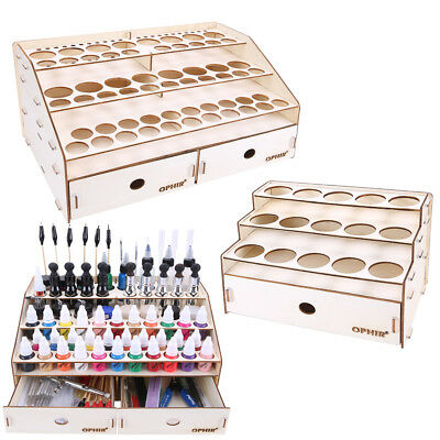 OPHIR Wooden Paint Rack Pigment Ink Bottle Storage with Cabinet Holder Organizer