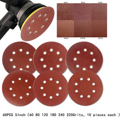 "60pcs 5"" 8 Hole Sand Paper Sandpaper for Polishing 60 80 120 180 240 320 Grit"