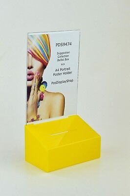 Suggestion / Collection Box with A4 Portrait Poster Holder PDS9474 Yellow A4P