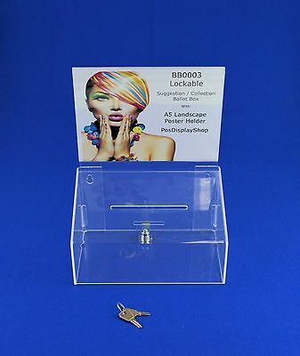 Lockable Collection Suggestion Box - Small Acrylic - BB0003 Clear