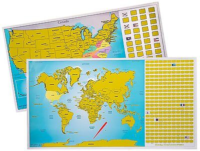 True North Maps Scratch Off World And US Map Set Interactive - Us travel tracking map