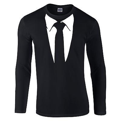 Suit and Black Tie Long Sleeve T Shirt - Mens S-3XL