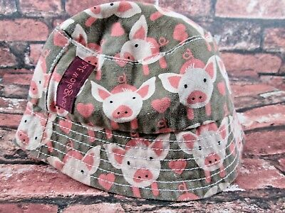 Bungalow 360 Cute Pig Natural Canvas Reversible Toddler Hat Cotton