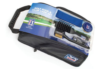 PGA Tour golf shoe bag and club care set. Complete club and shoe cleaning kit.