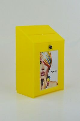 Collection Suggestion Box - Yellow Acrylic - Lockable - PDS9463 Yellow