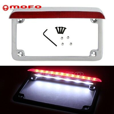 CHROME ALUMINUM LIGHTED License Plate Frame With LED 3rd Brake Light ...