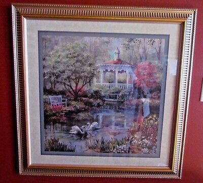 vintage retired home interiors swans on pond with gazebo