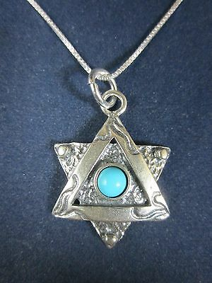 """Artisan Sterling Silver Star of David Turquoise Pendant Necklace 18"""" 925 Chain"""