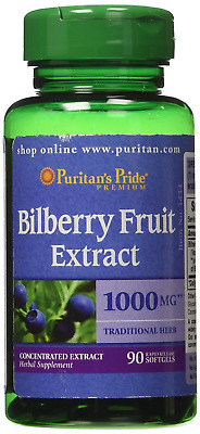 Puritan's Pride Bilberry 4:1 Extract 1000 mg 90 Softgels