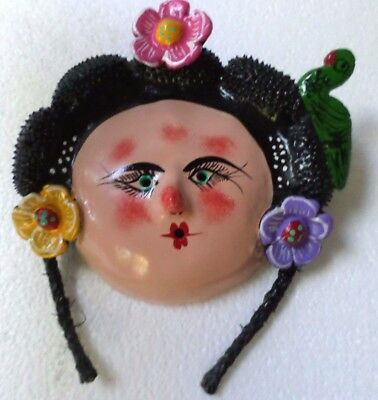 Mexican Folk Art Hand Painted Coconut Shell Mask Woman Parrot Braids
