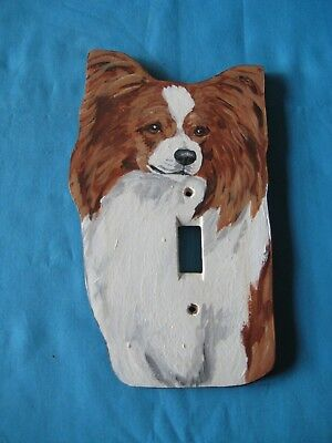 Papillon Red and White Handpainted Wooden Lightswitch Plate - New