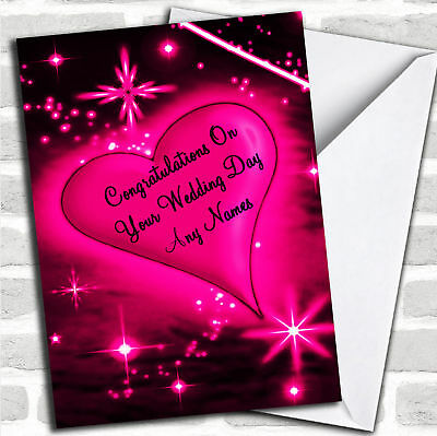 Hot Pink Love Heart Romantic Wedding Day Customised Card