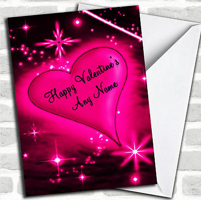 Hot Pink Love Heart Romantic Valentine's Customised Card
