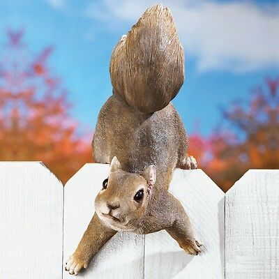 Lovely Over The Fence Squirrel Garden Statue Yard Art Lawn Ornament Porch Home  Decor