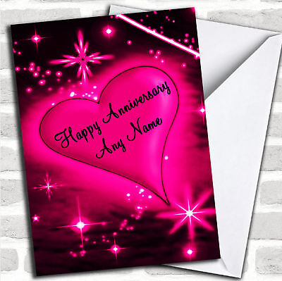 Hot Pink Love Heart Anniversary Customised Card
