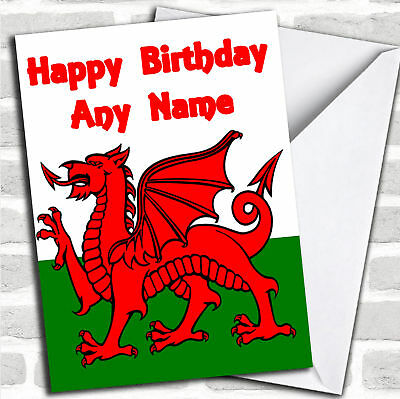 Welsh flag wales personalised birthday greetings card 349 welsh flag wales birthday customised card m4hsunfo