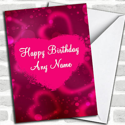 Hot Pink Love Heart Romantic Birthday Customised Card