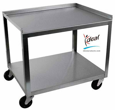 Ideal Stainless Steel 2-shelf Mobile Hot Pack Tank Cart