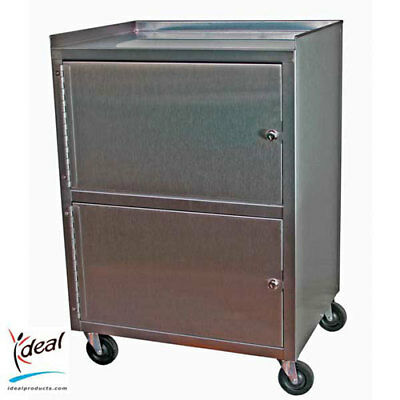 Ideal Stainless Steel 3-shelf Mobile Dual-Cabinet Cart