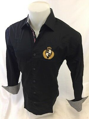 Mens Long Sleeve Button Down Shirt BLACK ROYALTY Limited Edition GOLD LEAF NWT