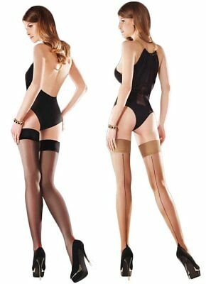 Women/'s Sensual Plain Top Opaque Hold Ups Microfibre Black Stockings Gabriella