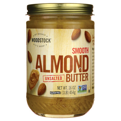 Woodstock Foods Smooth Almond Butter Unsalted 16 oz (454 grams) Jar