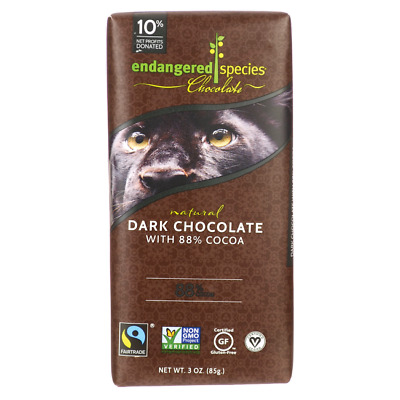 Endangered Species Chocolate Dark Chocolate Bar with 88% Cocoa 3 oz (85 grams...