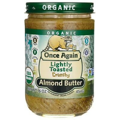 Once Again Organic Lightly Toasted Crunchy Almond Butter 16 oz (454 grams) Jar