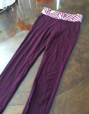 Purple long athletic / sport stretchy leggings / pants, girls sz 10-12 (L)