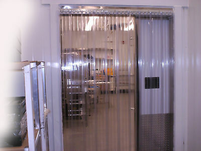 Vinyl Strip Door Curtain 72 in. X96 in. Cooler/Freezer Ribbed Hardware Included