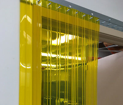 Vinyl Strip Door Curtain 48 in. X96 in. Yellow Ribbed Semi Transparent Hardware