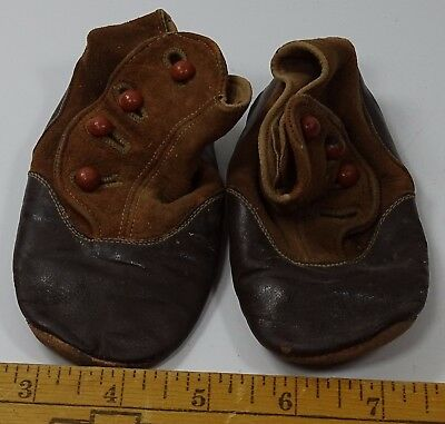 Vintage Antique Baby Shoes Black Brown 4 Button Up Doll Child Two Tone