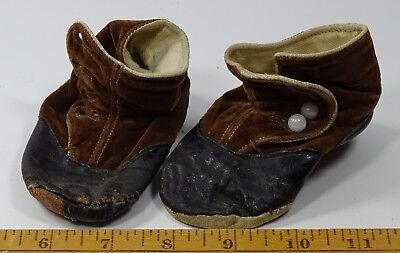 Vintage Antique Baby Shoes Black Brown Button Up Doll Child Two Tone