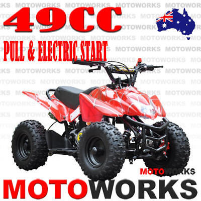 49CC ELECTRIC START SPORTS ATV QUAD Pocket Dirt Bike mini 4 Wheeler kids RED