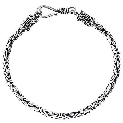 3mm Byzantine Bali Handmade Solid 925 Sterling Silver Chain Anklet Bracelet