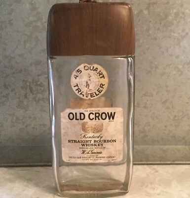 Vintage OLD CROW Whiskey TRAVELER FIFTH w/Buckle Strap EMPTY Bottle Packs Flat