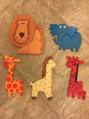 Set Of 5 Wooden Safari Animal Nursery Decorations **Giraffe, Elephant & Lion