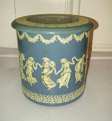 Vintage Dancing Ladies Women Blue White Enamel Metal Tin Decorative Container 4""