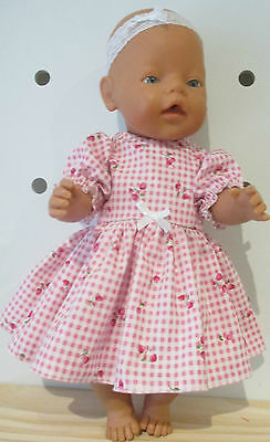 DRESS  & HEADBAND suitable Baby Born - Cabbage Patch Doll Pink Cherrie Broderie
