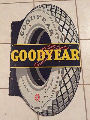 """Antique Goodyear Tire Porcelain Flange Sign 34"""" Double Sided Winged Foot"""