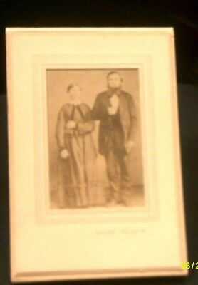 ANTIQUE PHOTO MID 1800's Man and Woman United Photo Bloomington, Il