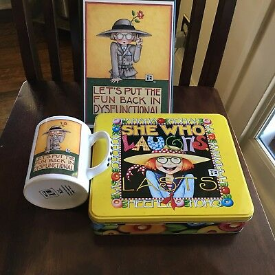 MARY ENGELBREIT Dysfunctional MUG & Poster plus She Who Laughs Lasts TIN