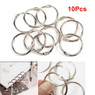 10pcs Loose Leaf Book Binder Metal Hinge Locking Rings Scrapbooking 25mm ^