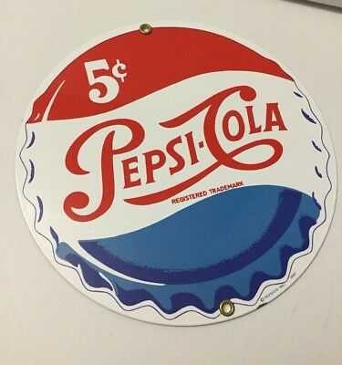 Vintage Pepsi Cola Porcelain Ad Rounded Sign Ande Rooney Soda 1991 5 Cents