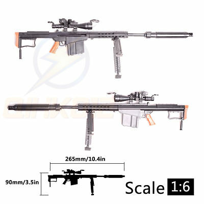 "1:6 1/6 Scale 12"" Action Figures Barrett M82A1 Sniper Rifle Weapon Model Gun Toy"